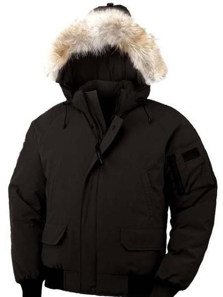 Uomo d'oca piumino Uomini PBI Raccoon collo di pelliccia invernale con cappuccio imbottito caldo dell'oca tuta da sci giù cappotti