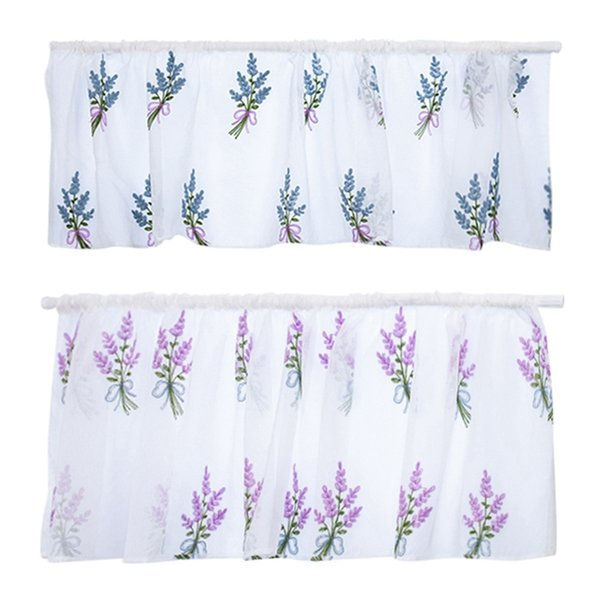 Çubuk Işlemeli Çiçek Kısa Perde Yarı-Şeffaf Pamuk Dekoratif Çiçek Perde Mutfak Oturma Odası Dekorasyon için