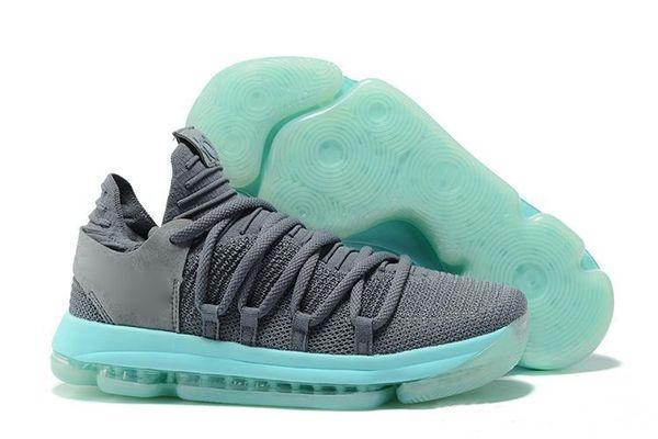 Bir 2019 SICAK! En kaliteli erkek ayakkabı 10s Gökkuşağı Kurt Gri Mavi Kırmızı Yeşil KD10 basketbol spor ayakkabı için KD 10 EP basketbol ayakkabıları