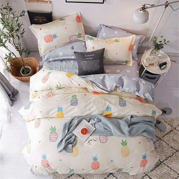 Japan Queen Size Bed Sheets Set Cute Bed Set Kids Linen With Fruit Pineapple Fitted Sheet Pillowcase Duvet Cover Sets Girls