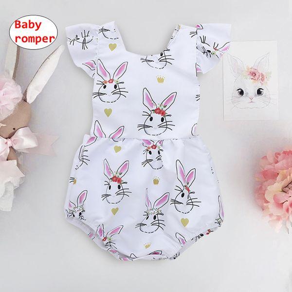Baby Easter rabbit print Romper Toddler designer onesie Kids Summer short sleeve jumpsuits 4size for 3-18M