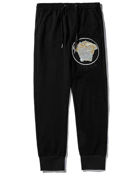 19 осенние модели взрыва классические модные мужские случайные брюки пара вышивка дикие удобные дышащие беговые спортивные брюки K8813 #