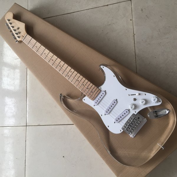 Free shippingFactory Wholesale Acrylic Glass Electric Guitar with Colorful LED Lights,SSS Pickups,offering customized services