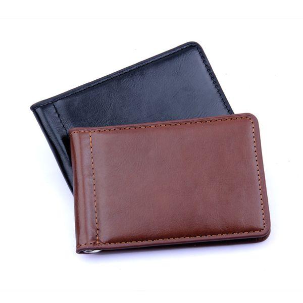 2018 Mode PU cuir solide hommes argent clip Wallet Zipper monnaie Porte-monnaie avec Designer Argent comptant Porte-cartes Porte-billets Sac Noir Brown
