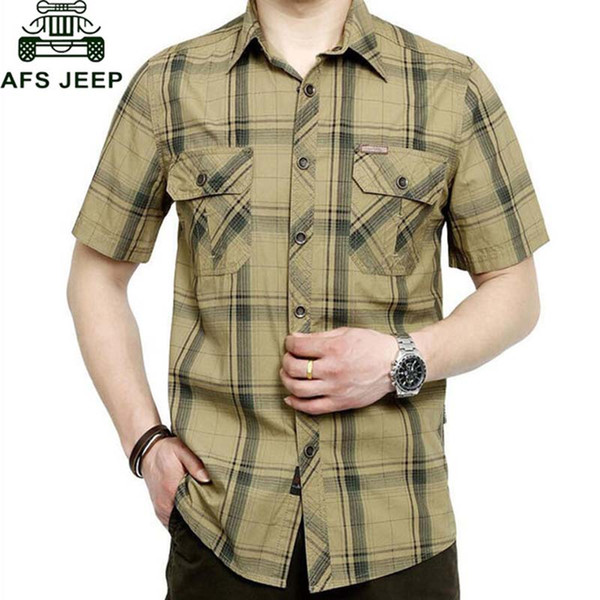 afs brand army shirt men 2018 summer 100% cotton plaid short sleeve mens shirts plus size 4xl 5xl camisa masculina, White;black
