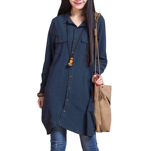 Mulheres Blusa De Linho Ocasional Das Senhoras Camisa Longa Plus Size Mulheres Tops Botão de Manga Longa Do Vintage Mulheres Blusas De Moda 2019 Primavera
