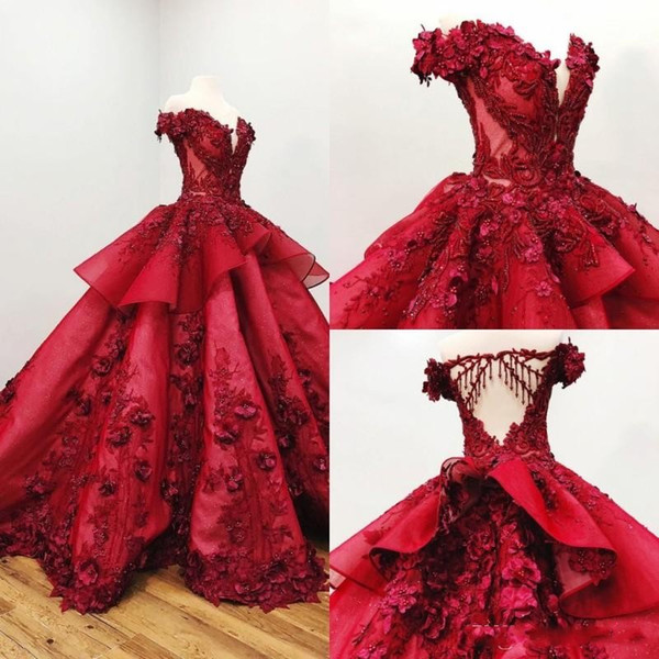 2019 Red Quinceanera Dresses Off The Shoulder 3D Floral Appliqued Beads Ball Gown Girls Pageant Gowns Formal Prom Dress Sweep Train
