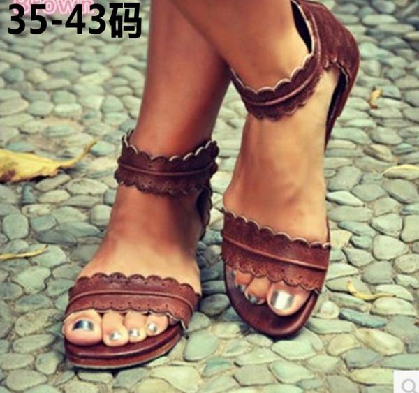 여자 플랫 레이스 발목 스트랩 여름 샌들 신발 여자 검 투 리프 지퍼 디자인 샌들 신발 큰 크기 35-43