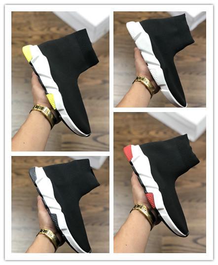 2019 Diseñador de moda Speed Trainer Calcetines Hombres y mujeres Tres piezas Negro Blanco Volt Zapatillas de deporte para hombre Zapatillas deportivas casuales 040111