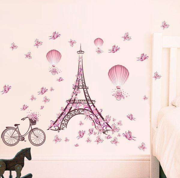 Romântico Torre Eiffel Casal Amor Adesivos de Parede Decalques Sala de estar Decoração Bicicleta Flor Balão De Ar Quente Decoração Do Casamento