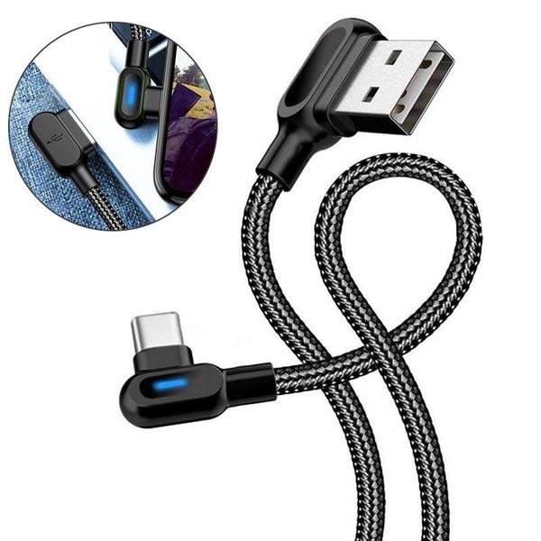 Dupla Tipo de Cotovelo-C Micro USB Cabos de Carga Rápida de 90 Graus de Cabo Com Luz Para Samsung Huawei Carregador de Telefone Móvel cabo de Dados Cabo Adaptador