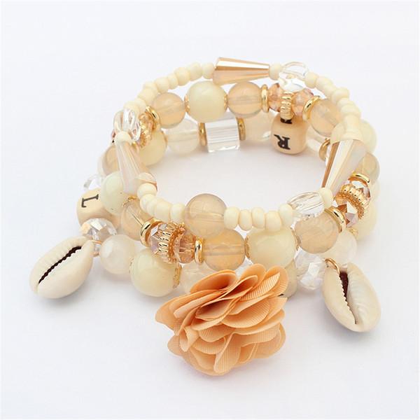 Bracelets perles en pierre pour les femmes Vintage Shell Flower Pendentif Bracelet femme Charms bijoux bracelet cadeau 123816
