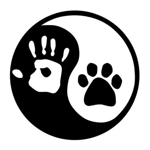 10*10CM Yin And Yang Cat Dog Footprints Palm Print Notebook Vinyl Deal Funny Cartoon Car Sticker Black /Silver CA1033