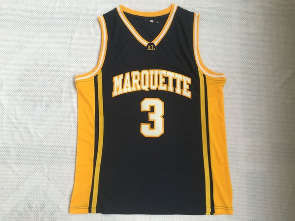 Maillots de basket-ball NCAA Hommes pas cher 3 Dwyane Tyrone Wade MARQUETTE Collège Jersey Chemises Cousues Taille S-XXL