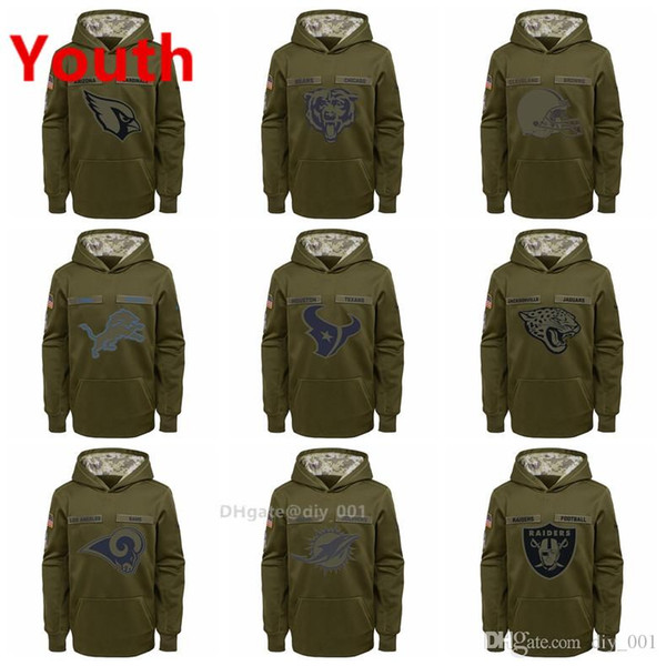 low priced dea06 997b3 2019 Youth Cleveland Browns Detroit Lions Houston Texans Miami Dolphins  Oakland Raiders Salute To Service Pullover Performance Hoodies From Vga1,  ...