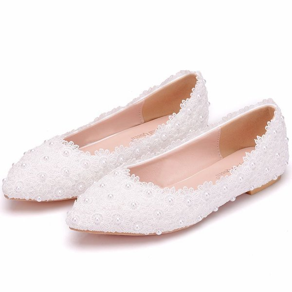 Gorgeous Lace Pearls Women Shoes For Wedding 2019 Cheap Flats Pointed Toes Slip-On Bridal Wedding Shoes Comfortable Flatforms Shoes