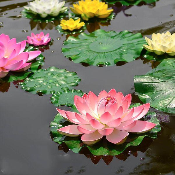 1 Pçs / lote 10 CM Real Toque Artificial Flor De Lótus Espuma Flores De Lótus Lírio De Água Plantas de Piscina Flutuante Decoração Do Jardim Do Casamento