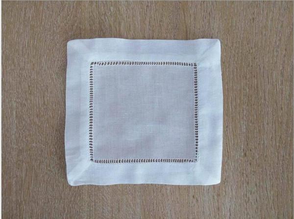 "top popular White Linen Cotton Hemstitched Cocktail Napkins- 5 PCS 6"" X 6""- Ladder Hem Stitch Cloth Napkin Coasters 2021"