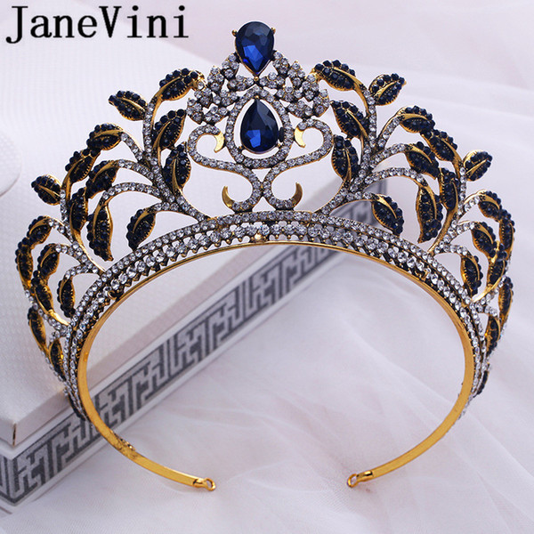 JaneVini Baroque Wedding Crown for Brides Women Vintage Tiaras Headbands Gold Decorations Black Crystal Rhinestone Bridal Hair Jewellery