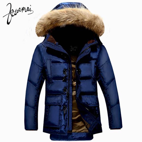 All'ingrosso-KUAMAI Nuovi uomini Giù cappotto Giacca invernale Uomini Nagymaros Collar Warm Snow Horn Button Anatra piumino Uomini XXXL