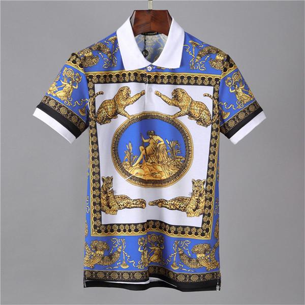 versaGE поло мужская короткий рукав футболки, Европейский летний носить с короткими рукавами футболки стиль значок вышитые куртки отворотом поло мужская рубашка