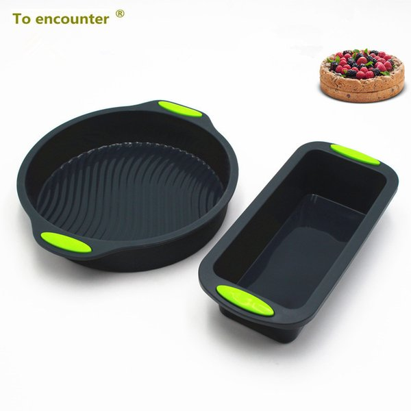 To Encounter Square Quadrate Shape Round Shape Silicone Baking Cake Mold Diy Toast Bread Pans Cake Dishes Tray 2 In Package J190723