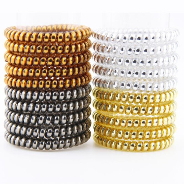 top popular Multicolor Metallic Elastic Spiral Shape Ponytail Hair Ties Plastic Spring Gum Hairband Rubber Band Hair Ring 2021