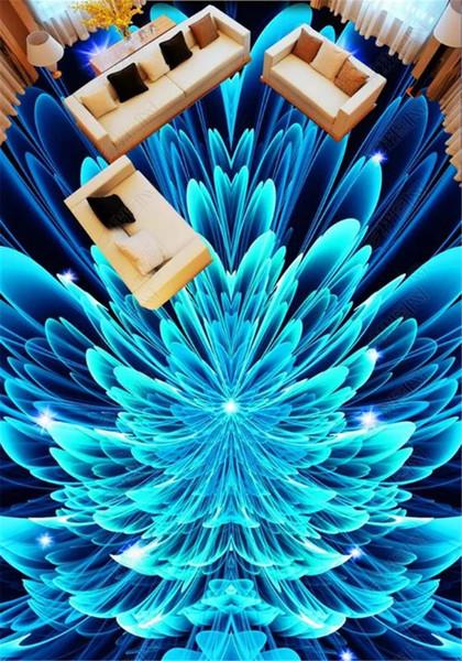 En gros De Luxe 3d Papier Peint Pour Belle Abstrait Bleu Fantaisie Fleur 3D Plancher Décoration Fond d'écran HD Effet 3D