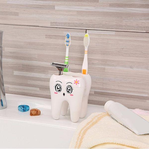 top popular Cartoon Teeth Shape 4 Holes Toothbrush Holder Stand Brush Rack Tooth Brush Shelf Shaving Razor Storage Holder for bathroom free shipping new 2021