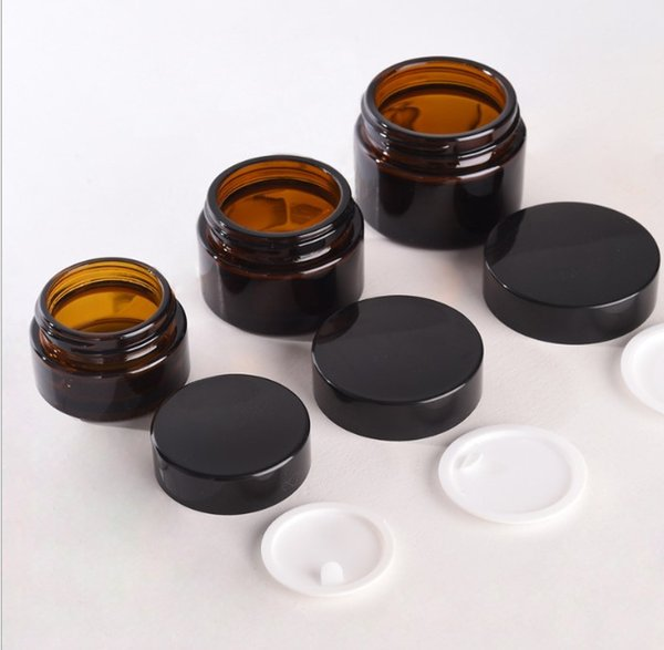 5g 10g 20g 30g 50g marrón crema de vidrio ámbar tarro con tapa negra envase cosmético embalaje para muestra de crema de ojos botella