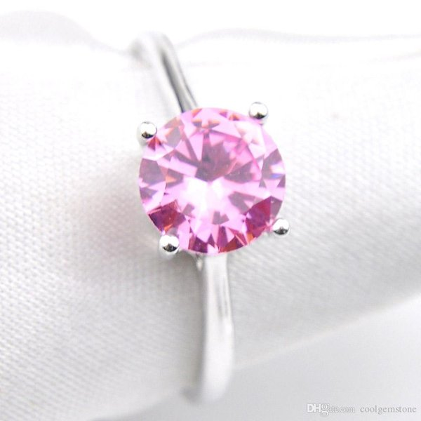 Bulk 6 Pcs/lot Valentine Day's Gift Unique Pink Topaz Crystal Gems Rings 925 Sterling Silver Plated USA Wedding Party Ring