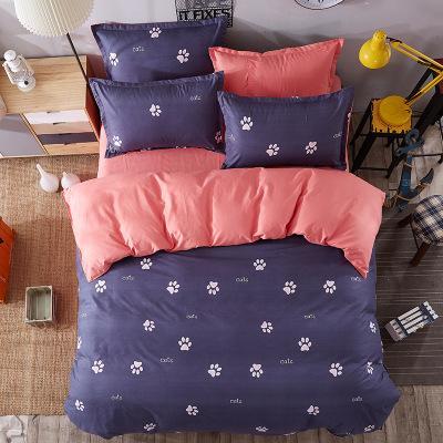 2019 New AB side bedding solid simple bedding set cartoon print Modern duvet cover set king queen full linen brief bed flat sheet set