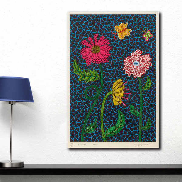 1 pieza de moda decoración para el hogar lienzo pared YAYOI KUSAMA flores pintura al óleo lienzo de impresión de la pared fotos para sala de estar carteles sin marco