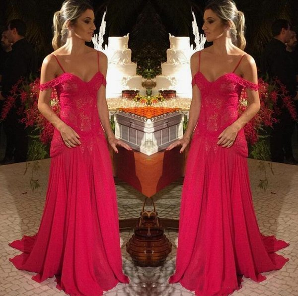 Red Lace 2019 Prom Dresses Sheath Spaghetti Straps Zip Back Chiffon Formal Evening Gowns Special Occasion Dress