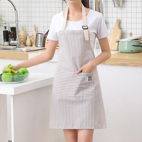 Fashion Simple Smallfresh Stripe Kitchen Antifoul Apron Pinafore Woman Cooking Accessories Cafe Restaurant Flower Shop Overalls T8190627