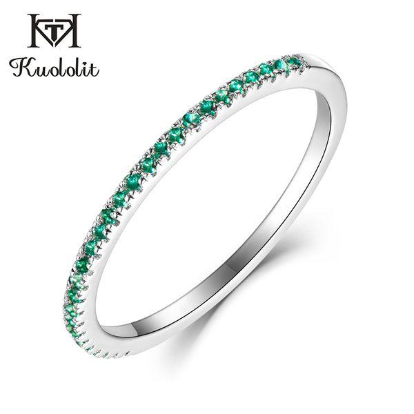 Kuololit Solid 10K Белое Золото 100% Природные Изумруд Gemstone Кольца для женщин 100% Ручная Настройка диапазона Кольца Обручальное Fine Jewelry