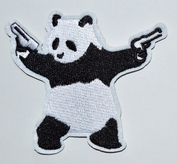 PANDA BEAR wielding pistols guns EMBROIDERED Iron On patch patches Applique (Size is about 8.7 cm * 7.5 cm)