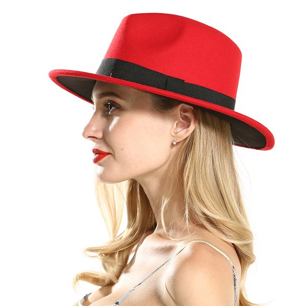 Fashion Polyester Cotton Red Black Wide Brim Fedora Hats for Festival Women Ladies Wool Felt Jazz Trilby Panama Carnival Hat