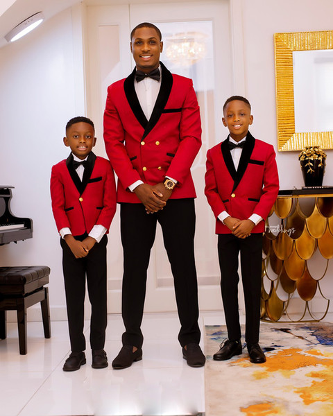 2019 Red and Black Mens Suits 2 Piece Suit Peak Lapel Slim Fit Wedding Tuxedos Groomsman Prom Dress Boy Wear Top Quality