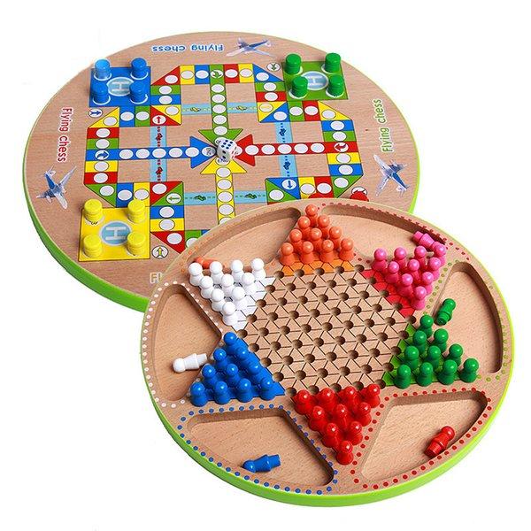 Детские образования деревянные шахматы игрушки многофункциональные шашки летающие шахматы настольные игры деревянные игрушки подарки