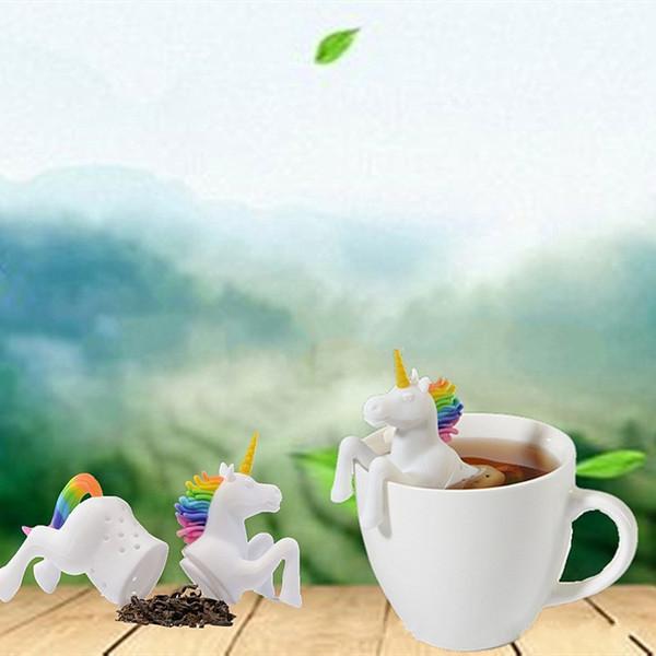 Creativo foglia di erbe spezie filtri resuable facile da pulire silicone Unicorn forma tè infusore filtri di sicurezza vendita calda 8hs BB