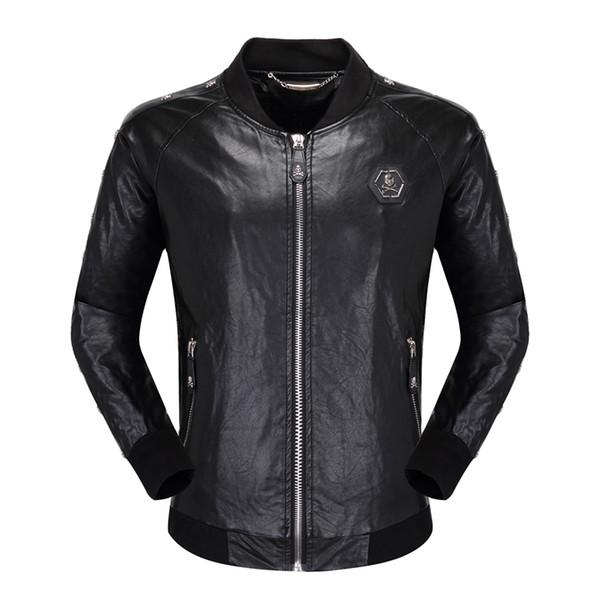 tasarımcı marka P erkekler Sahte Deri ceket kalça Günlük kat Yüksek Kalite mens moda lüks Spor giyim Asya Boyut M-3XL Fi hop kafataslarını