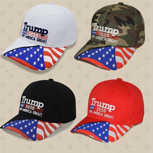 top popular 4 Colors Trump Baseball Cap 2020 Keep America Great Again Hats Trump Donald 3D Embroidery Letter Adjustable Sports Baseball Cap ZZA846 2021