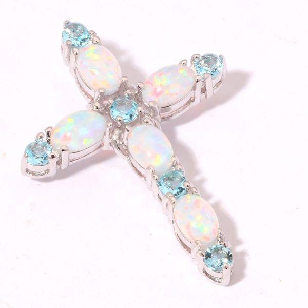 Noel Hediyesi Vintage Beyaz Yangın Opal Çapraz Kolye Kolye Safir Birthstone Takı Hediyeler Kadınlar Düğün Kolye Aksesuarları