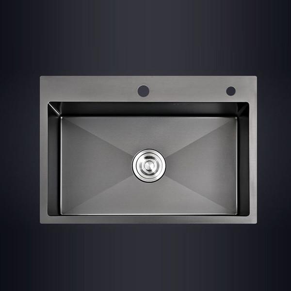 best selling Black single kitchen sink above counter or udermount vegetable washing basin sink kitchen black stainless steel pia black sink