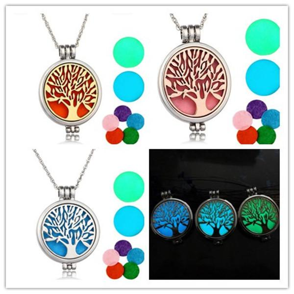 locket necklace aromatherapy necklace with felt pads stainless steel jewelry pattern tree of life pendant essential oils diy necklaces