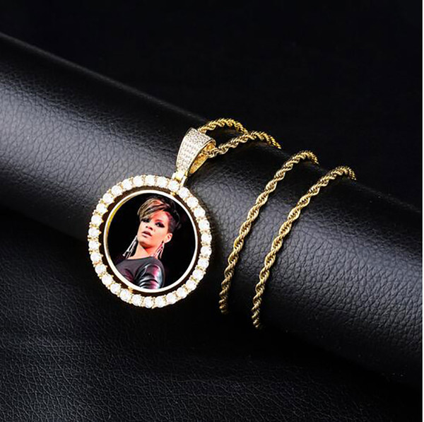 top popular Custom Made Photo Medallions Pendant Necklace Double-sided Rotation With Rope Chain Gold Silver Rosegold Color Cubic Zircon 2021