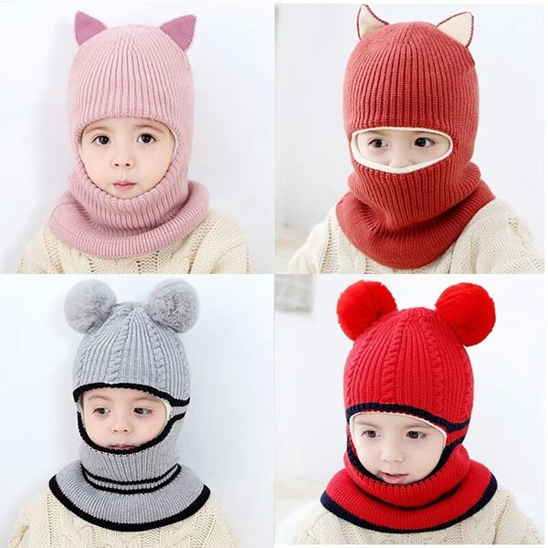 Children Knit Hat Causal Warm Winter Cap Fashion Multiple Wearing Methods Stretchy Knitted Cap Outdoor Kids Travel Ski Beanie Cap JJ19874