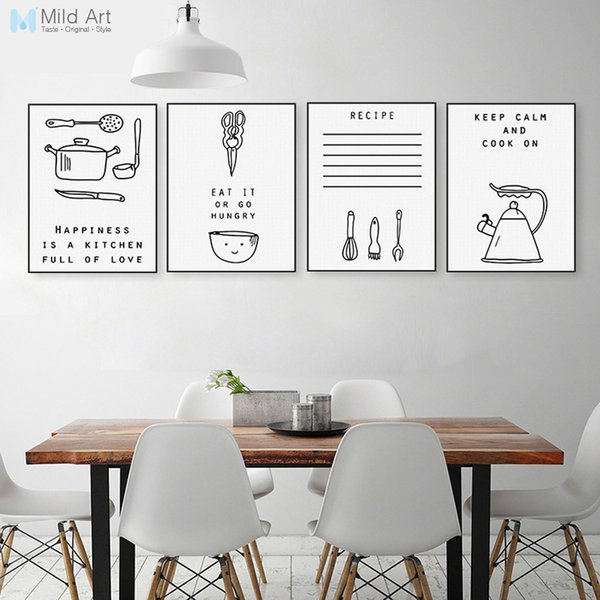 2019 Ome Decor Painting Calligraphy Black And White Inspiration Food Quotes  Poster Print Nordic Kitchen Wall Art Pictures Minimalist Home Deco... From  ...