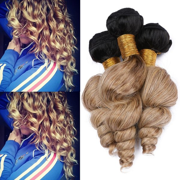 Ombre Honey Blonde Indian Human Hair Loose Wave Weave Wefts #1B/27 Light Brown Ombre Loose Wavy 3Bundles Virgin Hair Weave Extensions
